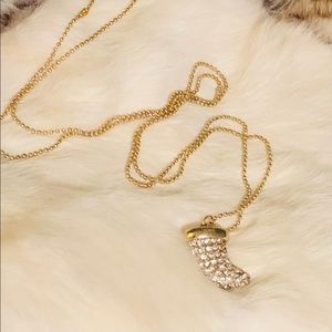 GOLD & CRYSTAL Horn on a 34 in Chain